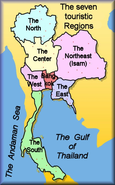 Provinces And Regions Of Thailand - Thailand regions map