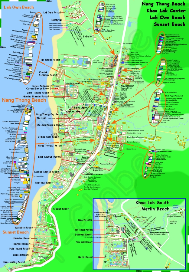 Nang Thong Map 2015 Best Khao Lak Map by tGlobe Phang Nga Thailand