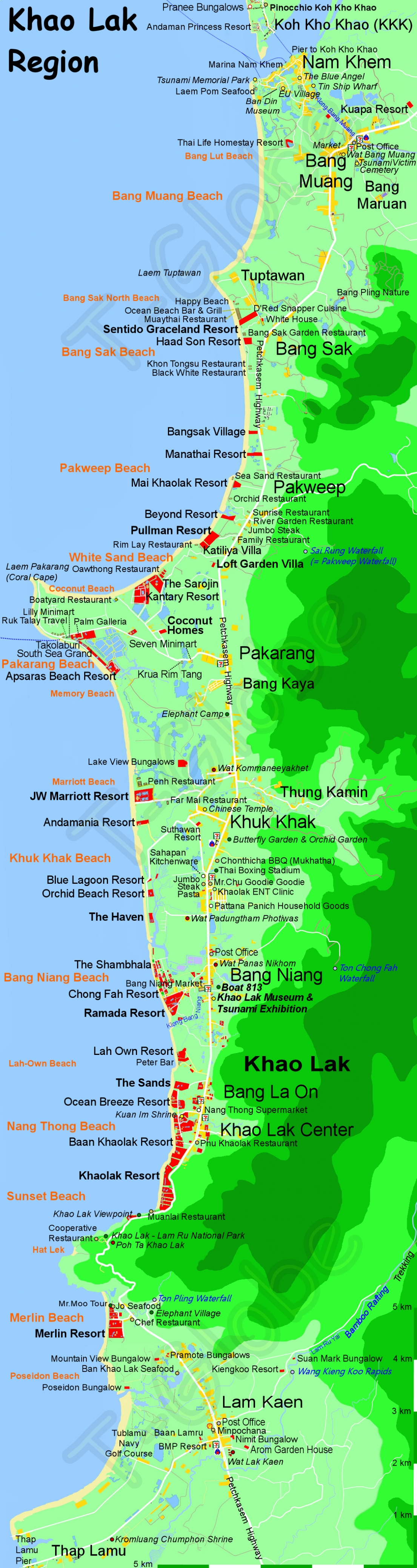 Khao Lak Region Map Best Khao Lak Map by tGlobe Phang Nga Thailand