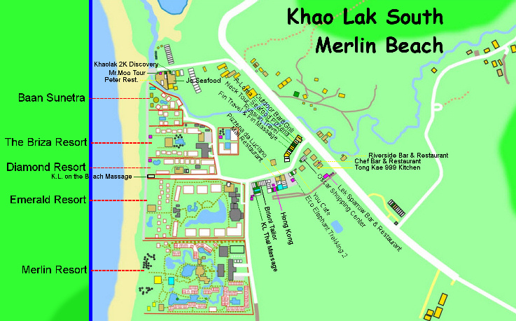 Merlin Beach Map 2015 Best Khao Lak Map by tGlobe Phang Nga Thailand